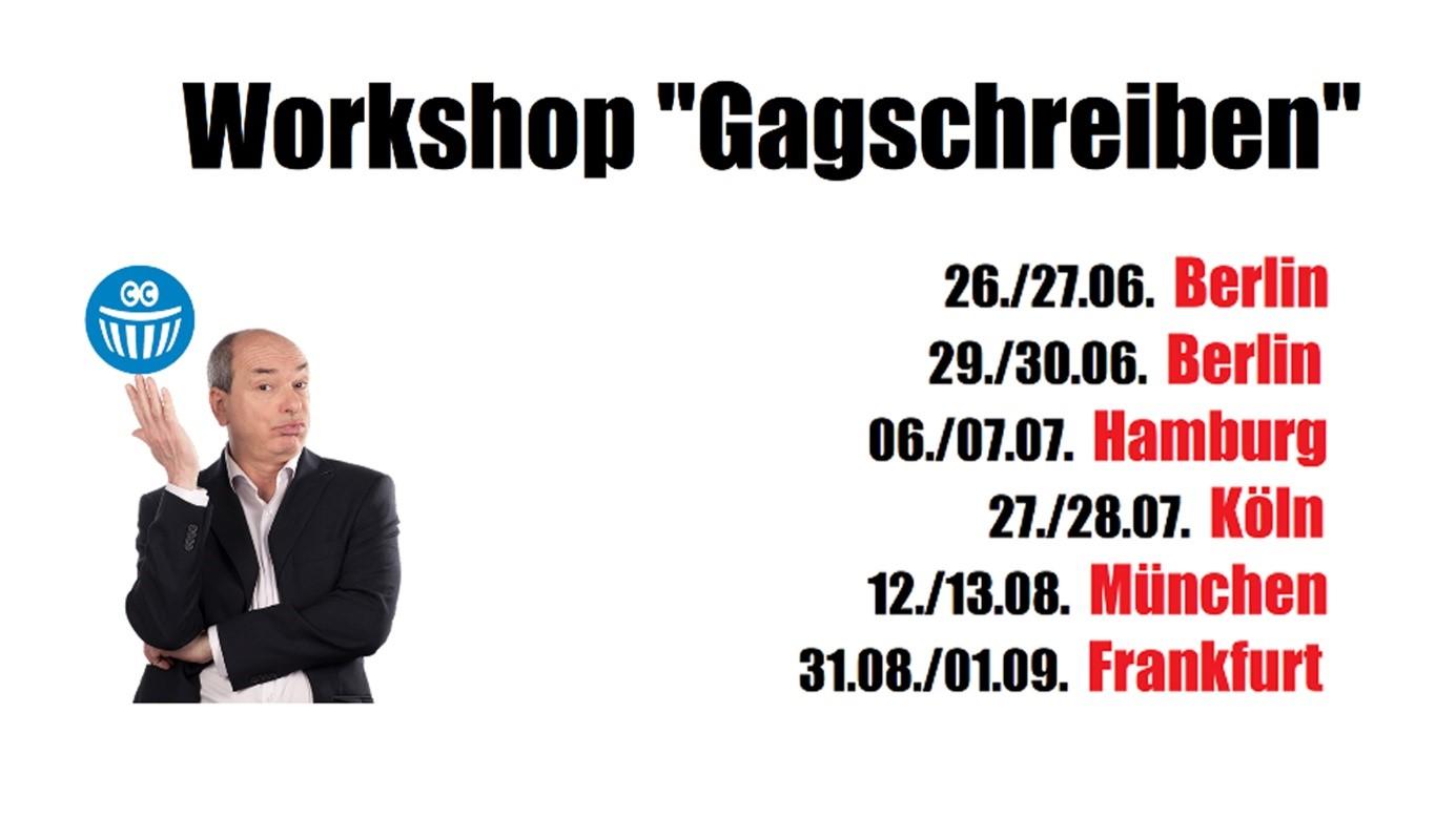 Termine für den Workshop Gagschreiben von Capital-Comedy.de in Berlin, Köln, München, Hamburg und Frankfurt.
